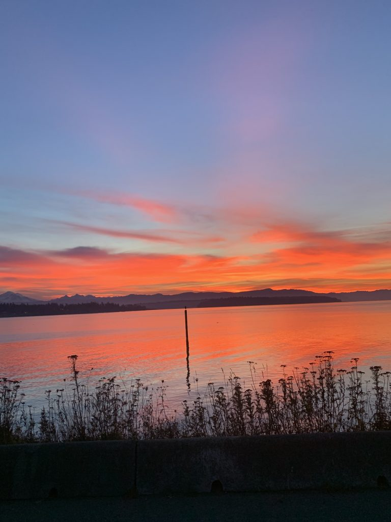 Sunrise at Lummi Island (November 8, 2019). Photo by Colby Chambers
