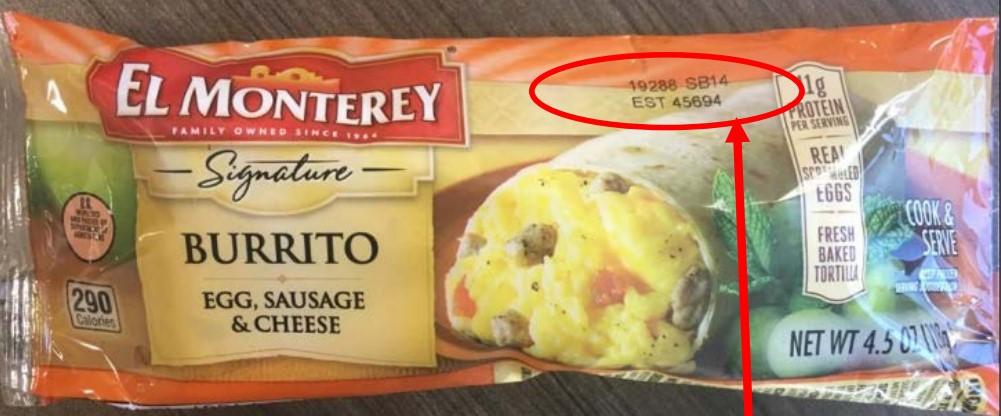 El Monterey Signature Burritos individual product package. Source: FSIS