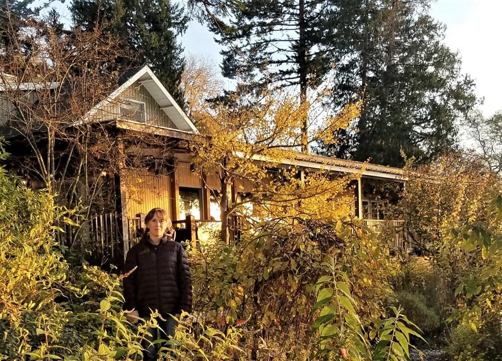 Nichole Schmitt standing outside the west porch at Willows Inn (November 7, 2019). Photo: Nichole Schmitt