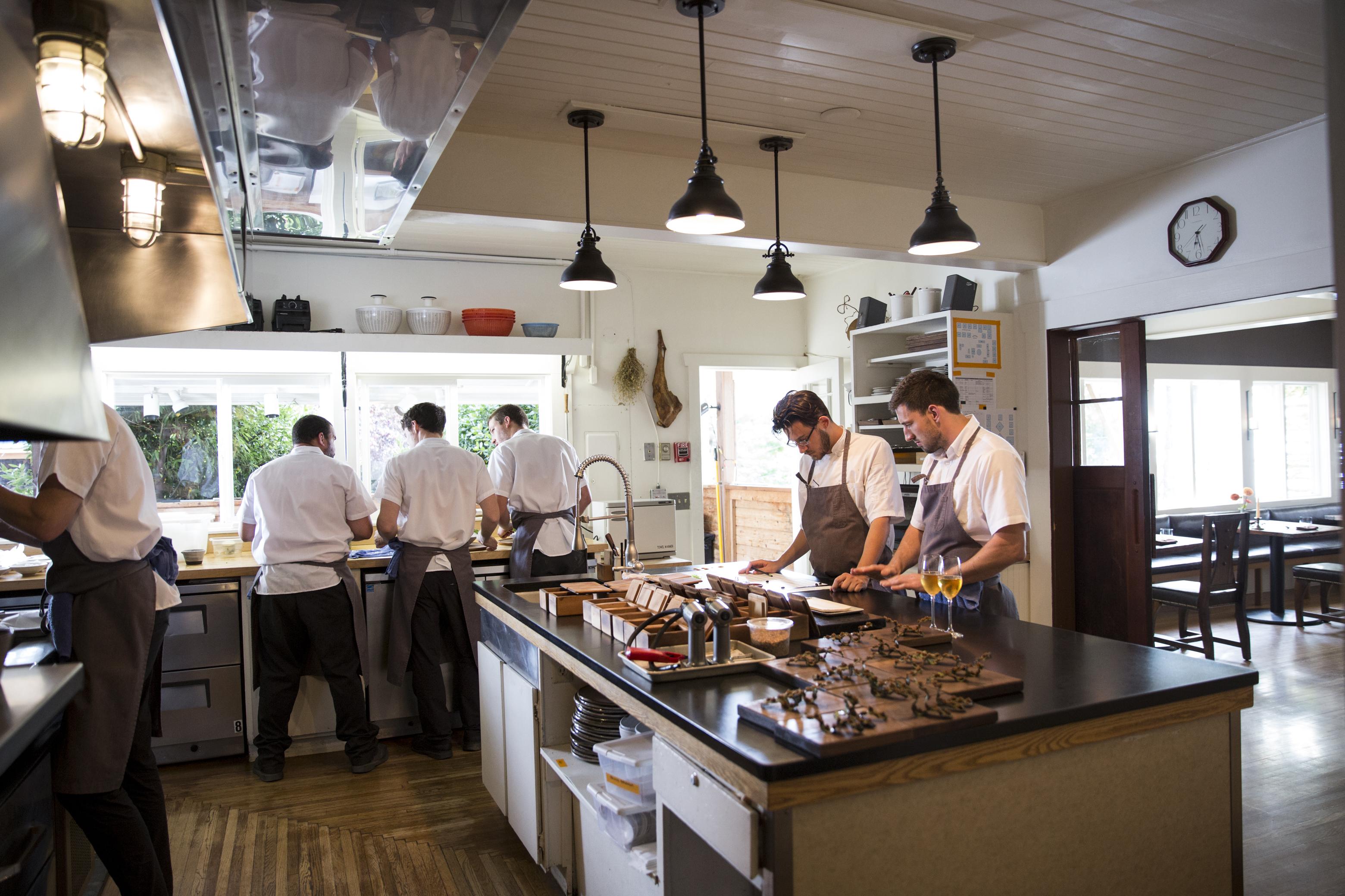 The Willows Inn kitchen (2017). Photo: Charity Burggraaf
