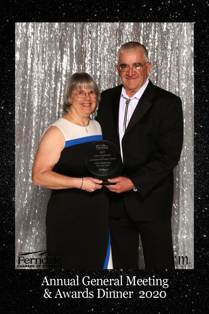 Pete and Nita Harksell pose with the Ferndale Chamber Spirit of Ferndale and Lifetime Achievement award (January 16, 2020). Photo: Radley Muller - Source: Ferndale Chamber