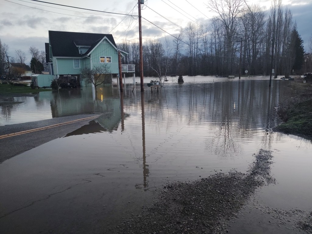 Looking east on Washington Street toward the entrance to VanderYacht Park after the Nooksack River level rose to nearly 21 feet (February 2, 2020). Photo: My Ferndale News