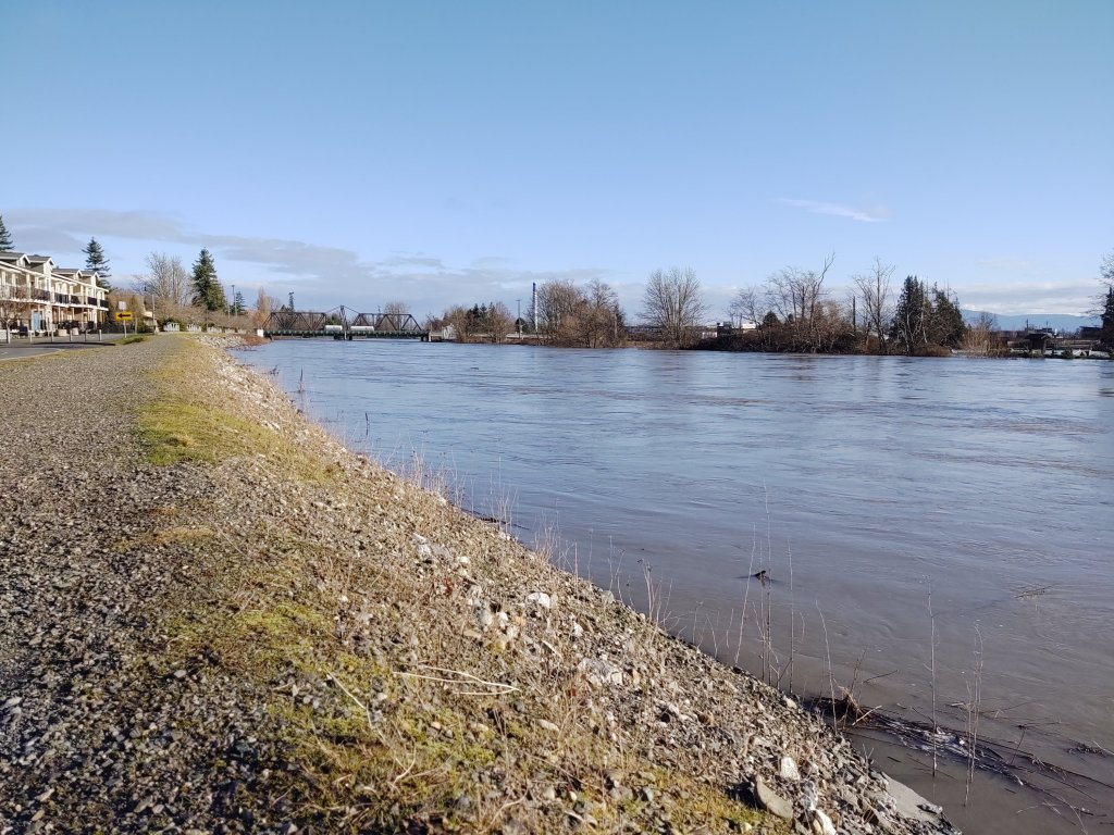Looking north toward Main Street from Cherry Street while the Nooksack River was flowing at just below 21 feet (February 2, 2020). Photo: My Ferndale News