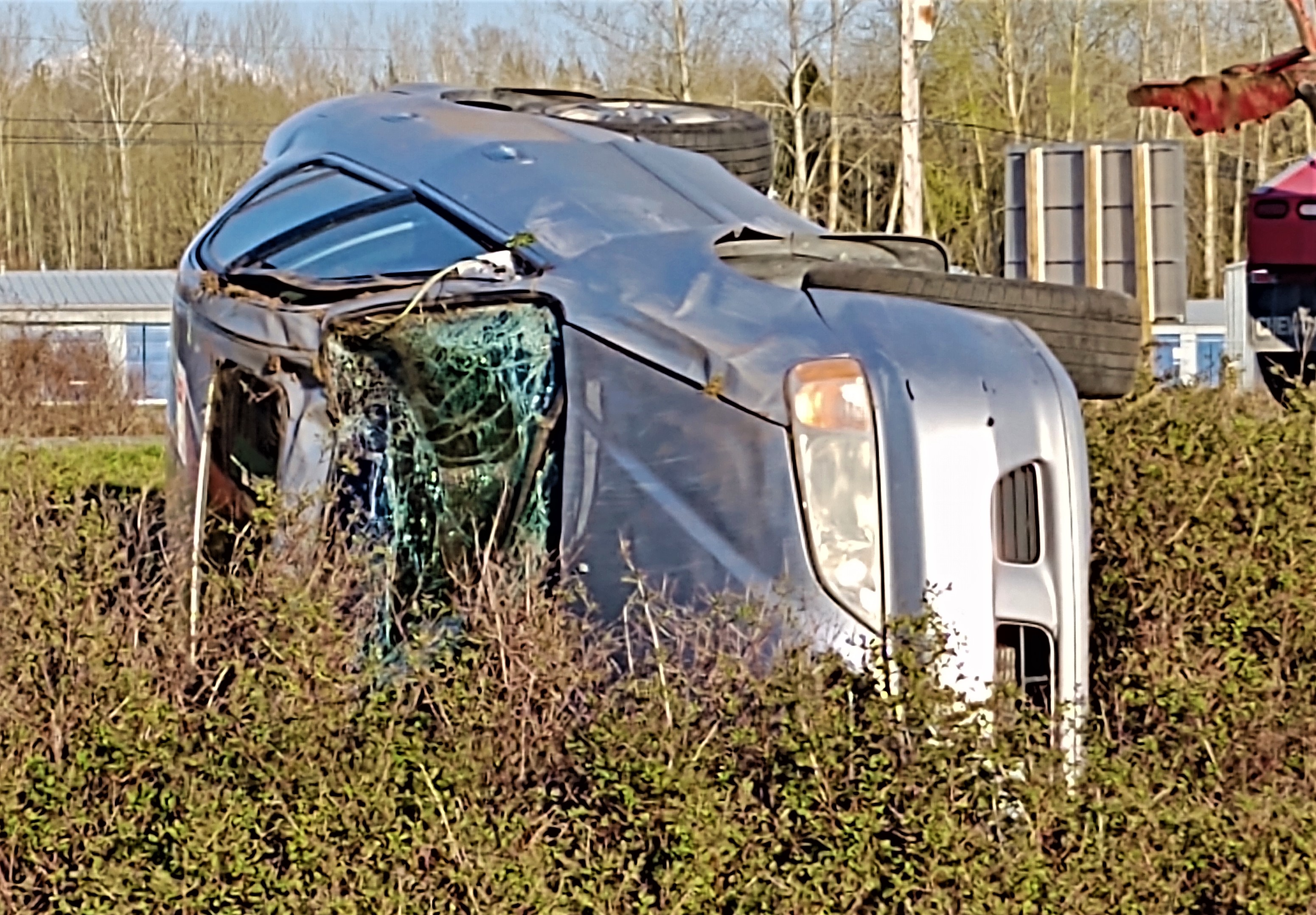 Scene of a rollover crash on southbound I-5 south of the Main Street interchange (April 9, 2020). Photo: My Ferndale News