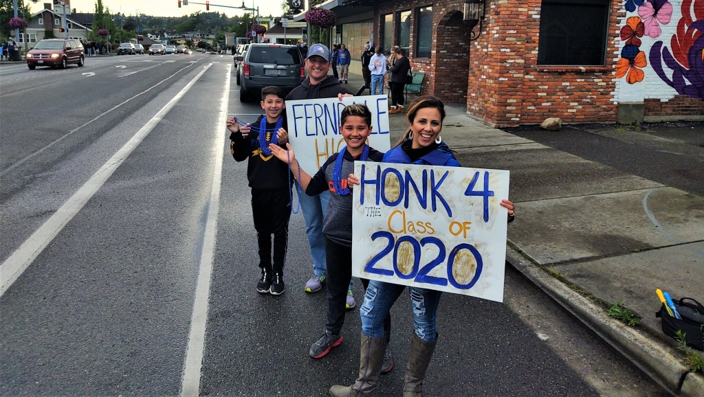 The McManus family were out early to support their graduate during the parade (June 12, 2020). Photo: My Ferndale News