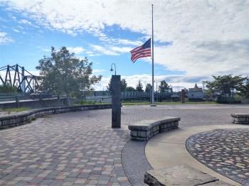Flag at half-staff at Riverside Centennial Park (May 15, 2020). Photo: My Ferndale News