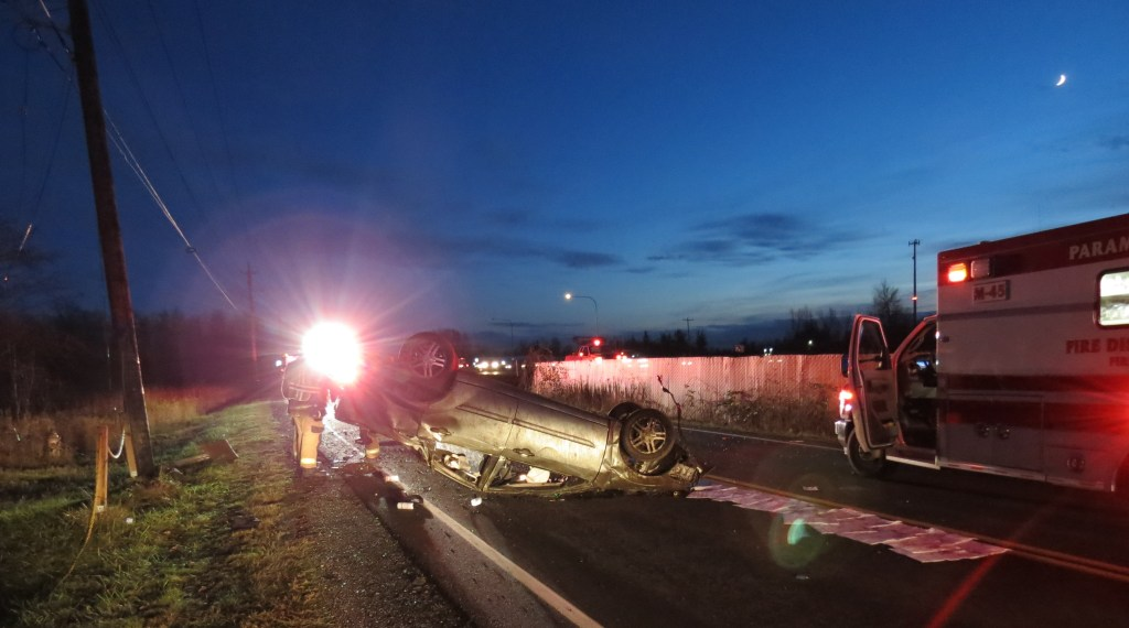 Scene of a rollover crash involving a passenger vehicle that was northbound on I-5 and ended up on its top on Barrett Road (December 17, 2020). Photo: My Ferndale News