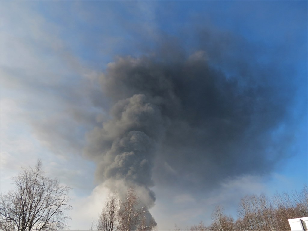 Plume visible from train derailment with fire in Custer as viewed from Bruce Road (December 22, 2020). Whatcom News