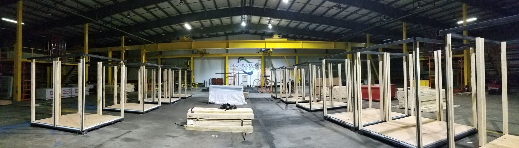 Module units being constructed inside the 360 Modular Building Systems facility (January 2021). Photo courtesy of 360 Modular Building Systems
