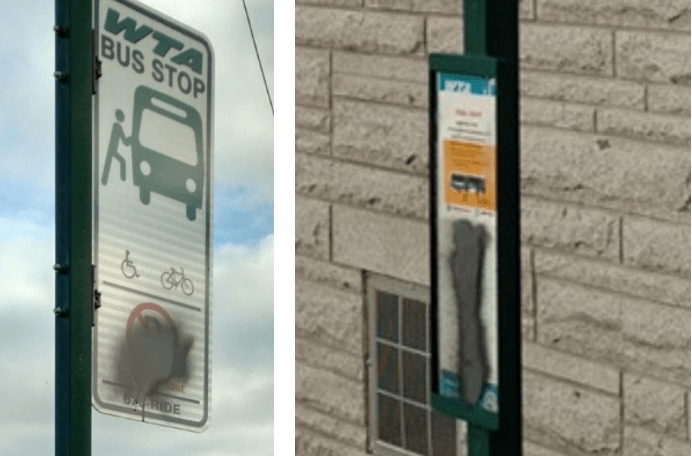 Vandalized WTA bus stop signs in Ferndale. Photos courtesy of Ferndale Police Department