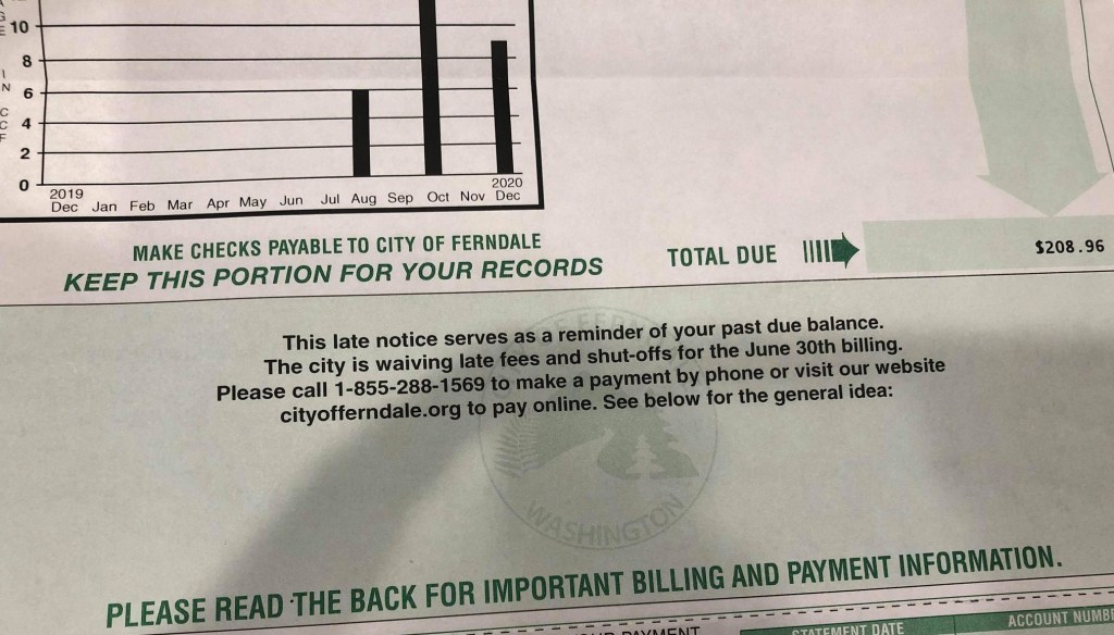 """Example of Ferndale utility invoice with errant """"Late Notice"""" message (January 7, 2020). Source: City of Ferndale"""