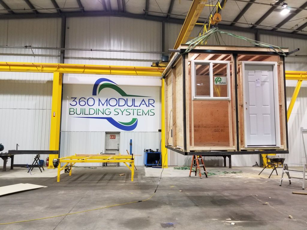 Emergency shelter being constructed for Whatcom County by 360 Modular Building Systems (January 2021). Photo courtesy of 360 Modular Building Systems