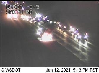 Scene of a vehicle fire on I-5 (January 12, 2021). Source: WSDOT