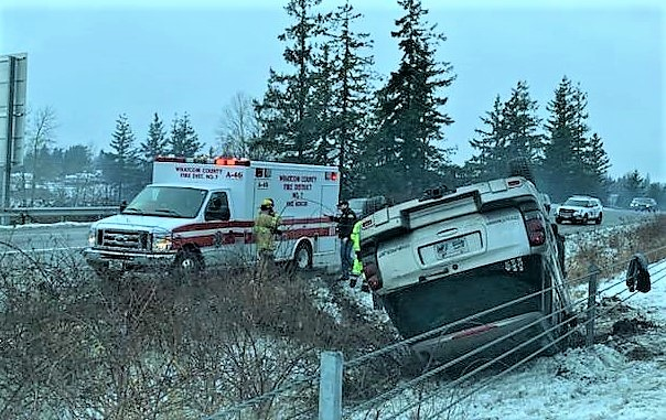 Scene of a rollover crash on I-5 (February 15, 2021). Photo courtesy of WCFD7