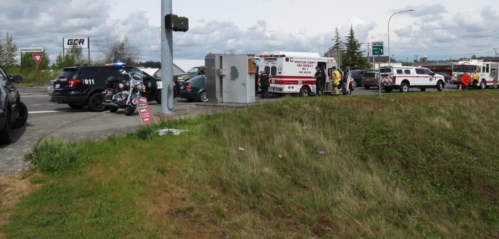Scene of car vs motorcycle crash on Main Street in Ferndale (April 27, 2021). Photo: Whatcom News