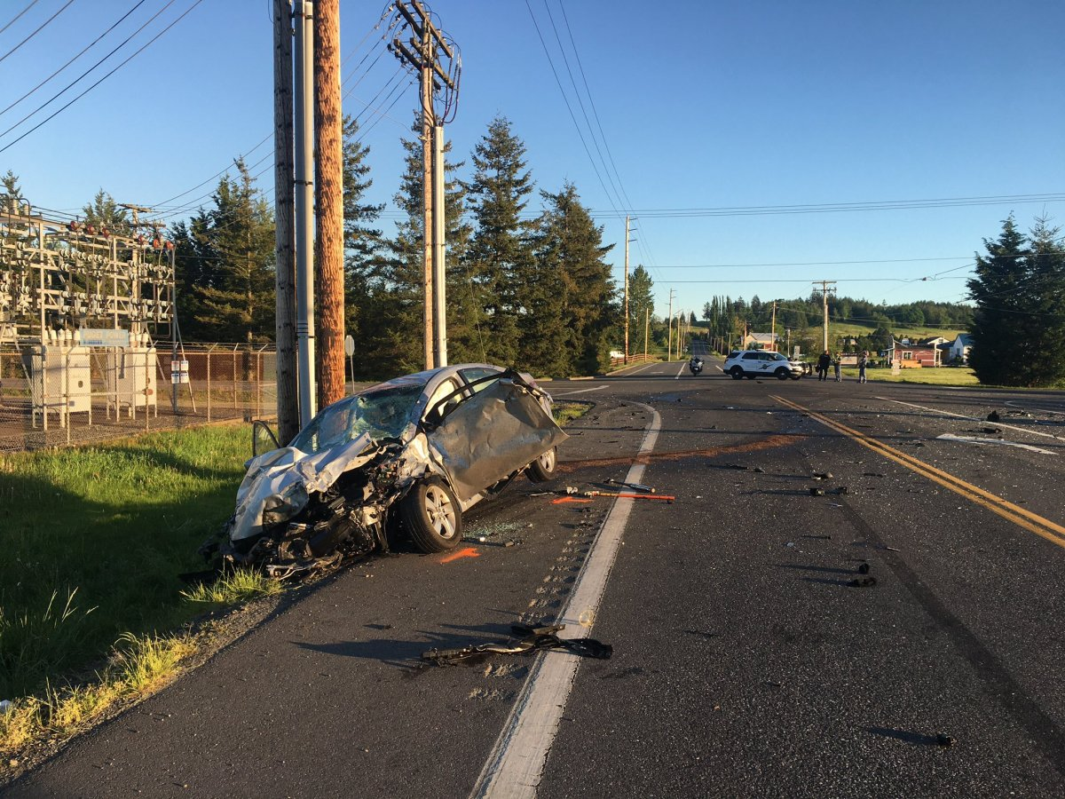 Scene of crash at E Hemmi Road and Hannegan Road (May 13, 2021). Photo courtesy of WSP