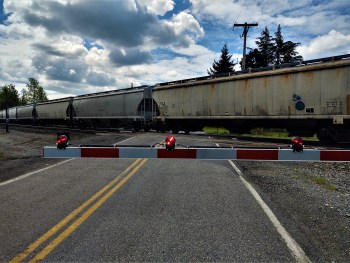 Railroad crossing arms down with rail cars at a crossing. Whatcom News file photo