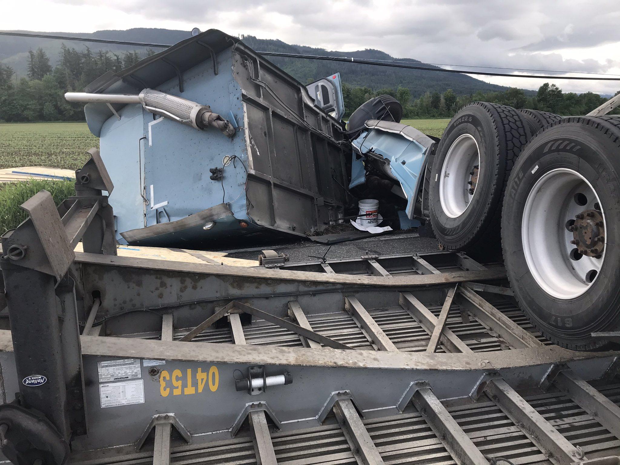 Scene of a semi-truck rollover crash on SR9 (May 18, 2021). Photo courtesy of WSP