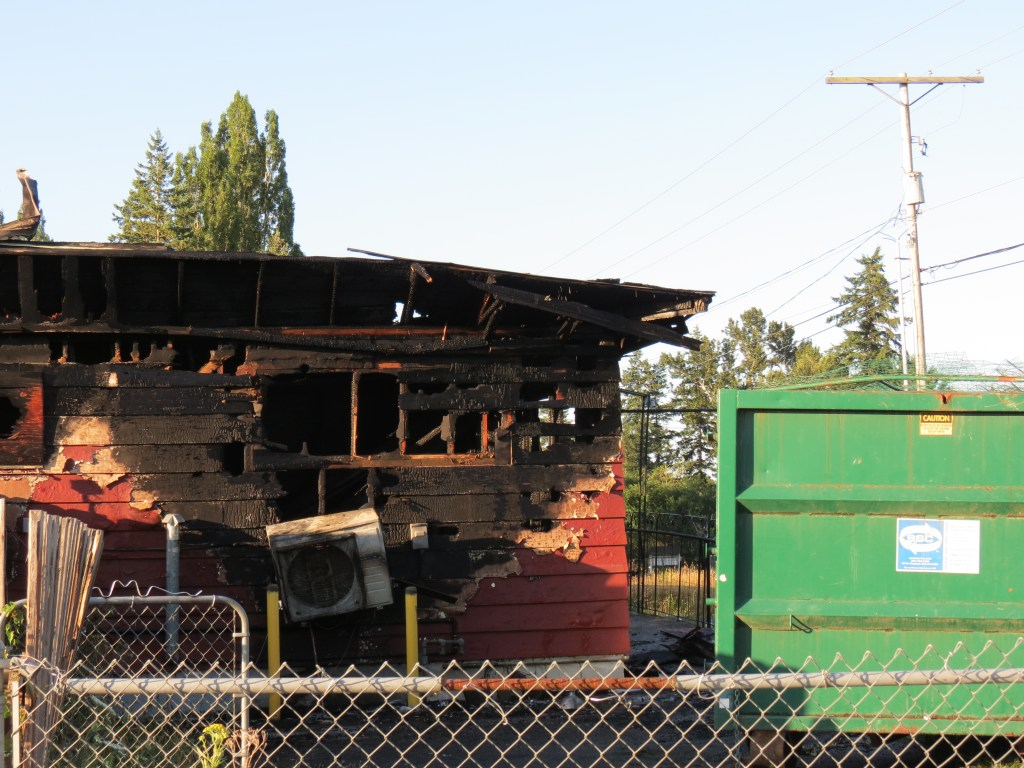 Scene after 2nd fire in 6 months at a business on Meridian Street (July 11, 2021). Photo: Whatcom News