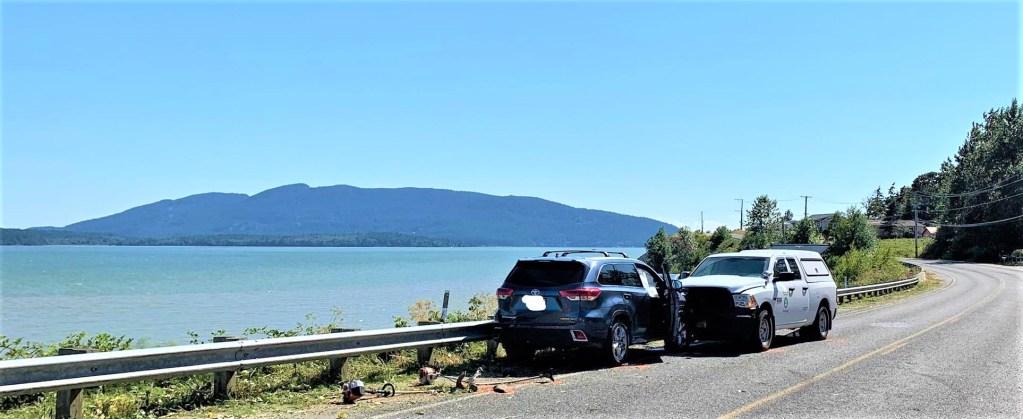 Scene of a car vs pedestrians crash on Lummi Shore Road (July 20, 2021). Photo courtesy of WSP