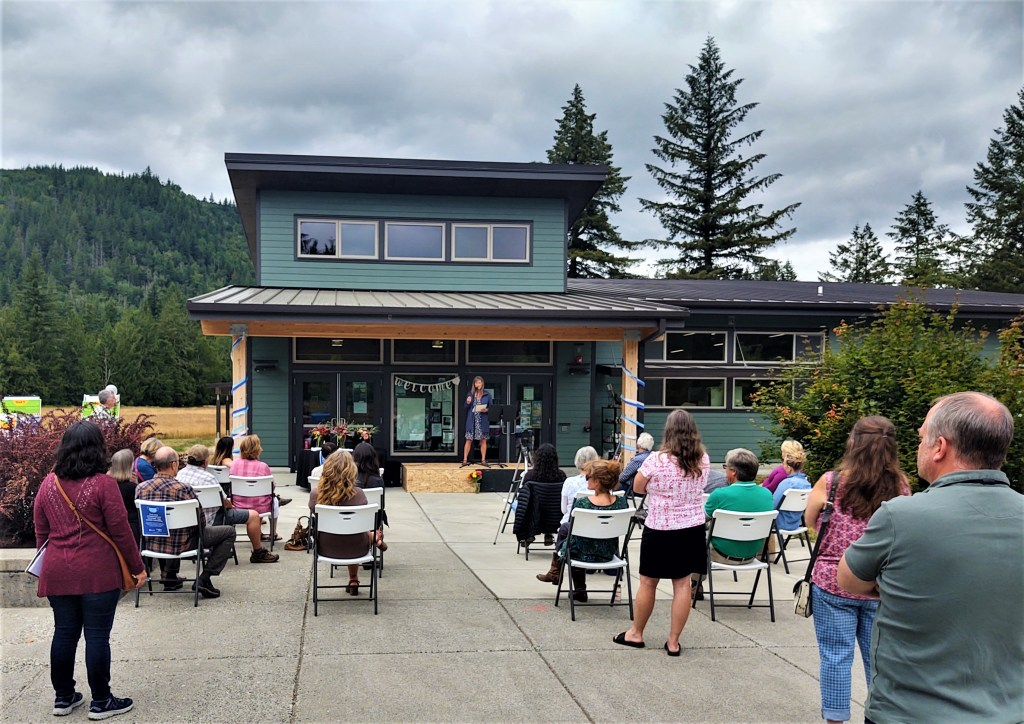 Foothills Food Bank open house guests hear from Board President Cheryl Thompson (July 16, 2021). Photo: Whatcom News