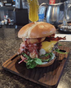 """Riverside Bar & Grill """"Hold my Beer Burger"""" (July 21, 2021). Photo: Whatcom News"""