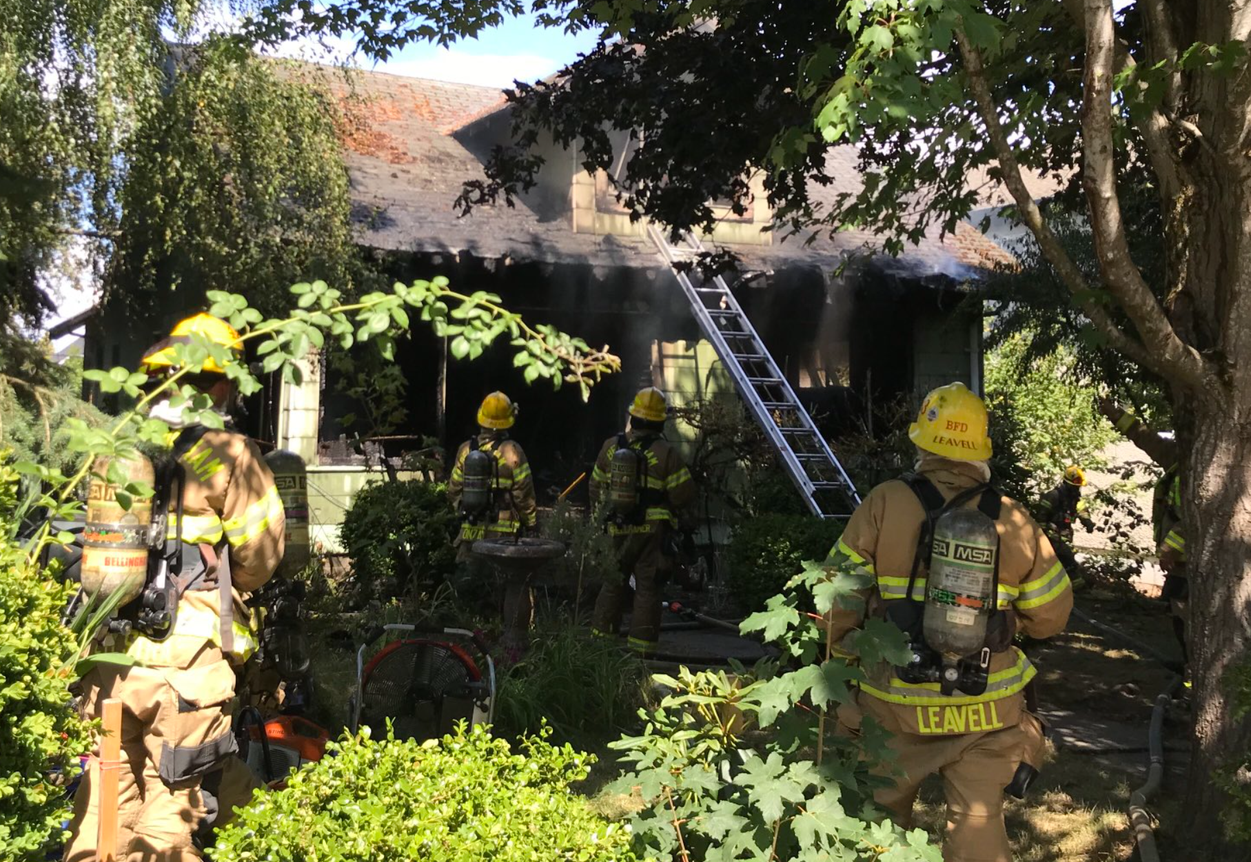 Scene of a residential fire on Billy Frank Junior Street (August 9, 2021). Photo courtesy of Bellingham Fire Department