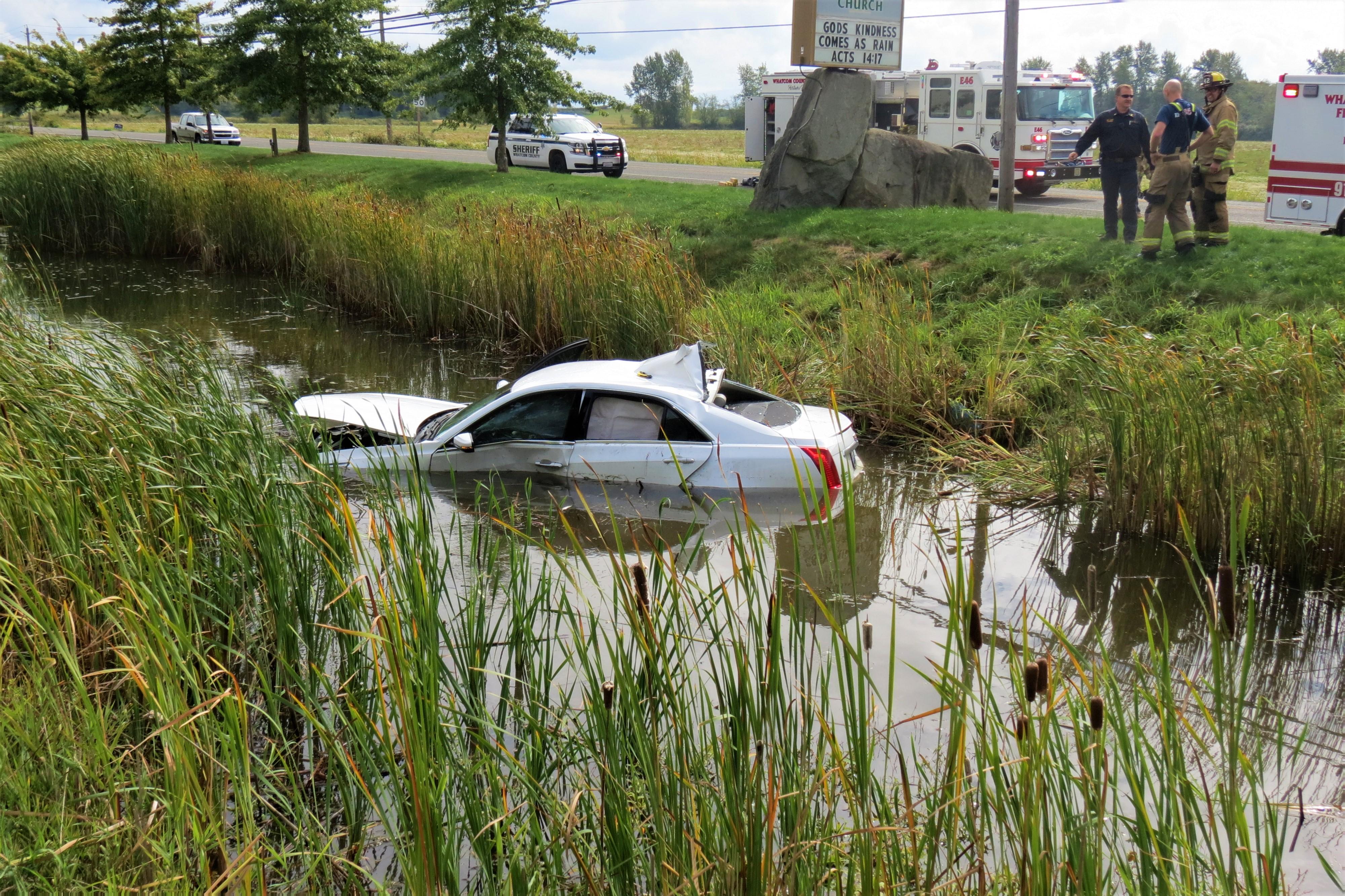 Scene of a T-bone crash at Mountain View and Olson Roads (September 20, 2021). Photo: Whatcom News