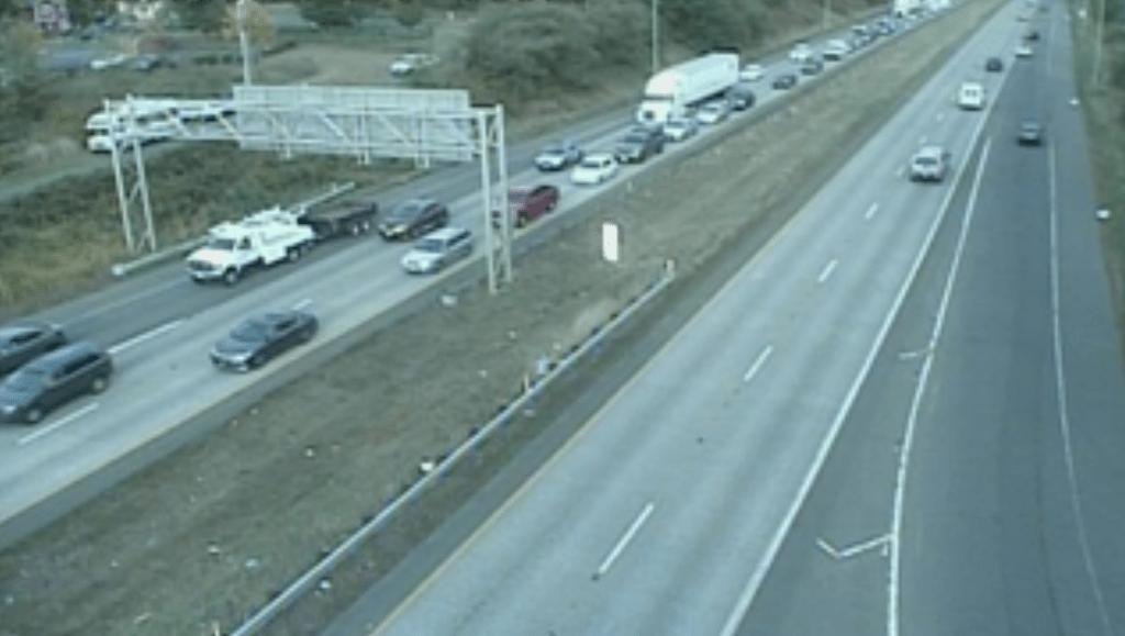 View of I-5 south of the lane closure at 5:30pm (September 16, 2021). WSDOT traffic camera