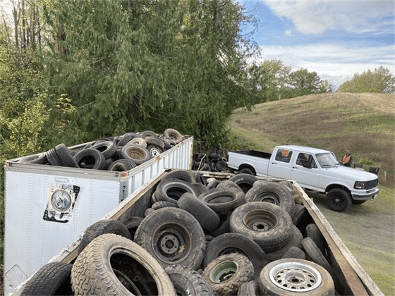 Full bins during a the Whatcom County Health Department and Public Works Department free tire recycling event (October 18, 2021). Photo courtesy Whatcom County Health Department