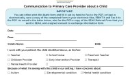 Communication to a Primary Care Provider About a Child