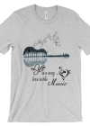 Amazing Acoustic Guitar Tree Graphic Music Art T-Shirt