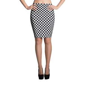 Checkered Black White Squares Sublimation Cut & Sew Pencil Skirts