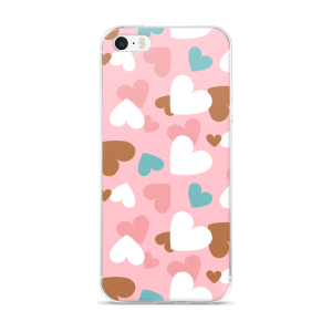 Creative Design A-Focus Pink Blue White Brown Hearts iPhone 5/5s/Se, 6/6s, 6/6s Plus Case