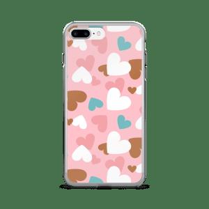 Creative Design A-Focus Pink Blue White Brown Hearts iPhone 7/7 Plus Case
