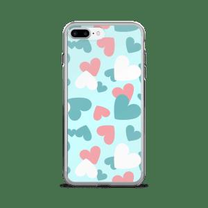 CREATIVE DESIGN A-FOCUS PINK BLUE WHITE HEARTS iPhone 7/7 Plus Case