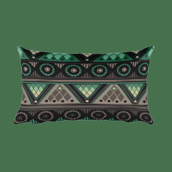 Gray - Green Rectangular Pillow