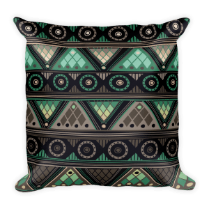 Gray - Green Square Pillow