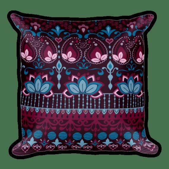 India Burgundy Square Pillow