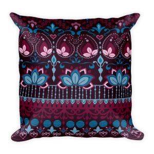 India Burgundy Square Pillow