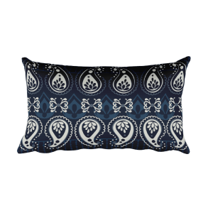 India - White - Blue Rectangular Pillow