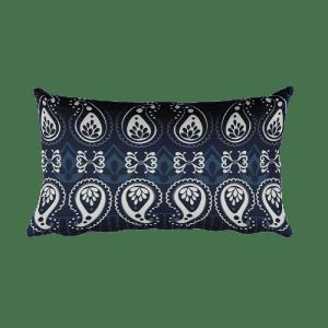 India - White - Blue Rectangular Pillow