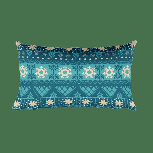 Snow Flake Decor - Christmas - Blue - Gift Rectangular Pillow