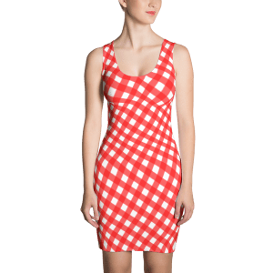 Striped Red White Checker Gingham Sublimation Cut & Sew Dress