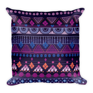 Tribal Raspberry Square Pillow