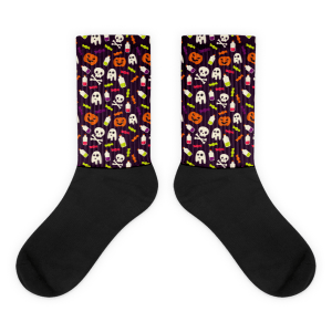 Colorful halloween pattern Black foot socks