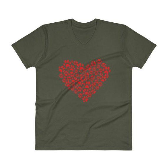MEN'S ANIMAL LOVER DOG CAT PAWS HEART V-Neck T-Shirt