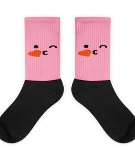 Pink Face Blowing A Kiss Black foot socks