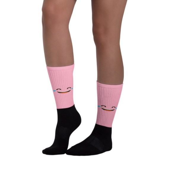Pink Face With Tears Of Joy Black foot socks