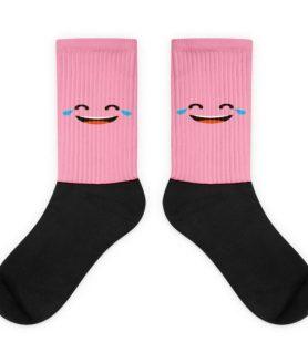 Pink Face With Tears Of Joy Black foot socks